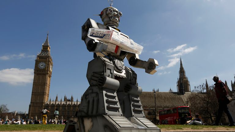 A robot in front of the Houses of Parliament as part of the Campaign To Stop Killer Robots