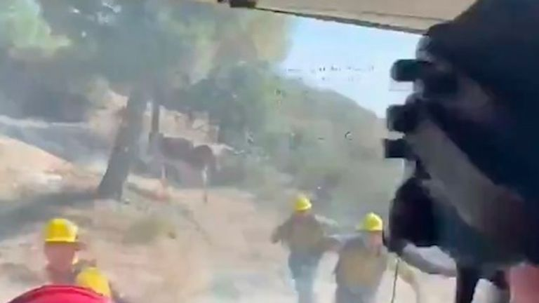 Bull chases firefighters in LA