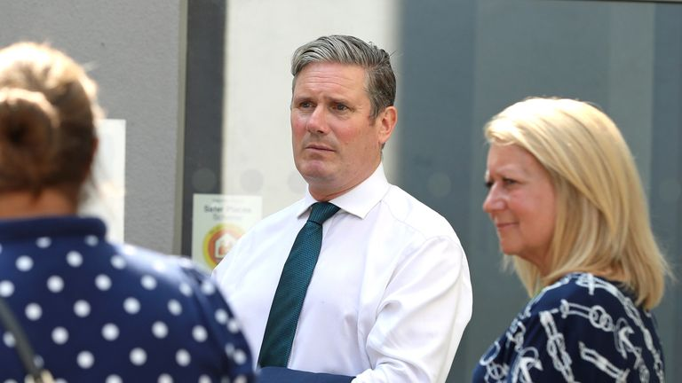 Labour leader Keir Starmer meets teachers during a visit to Wakefield College in Wakefield, West Yorkshire