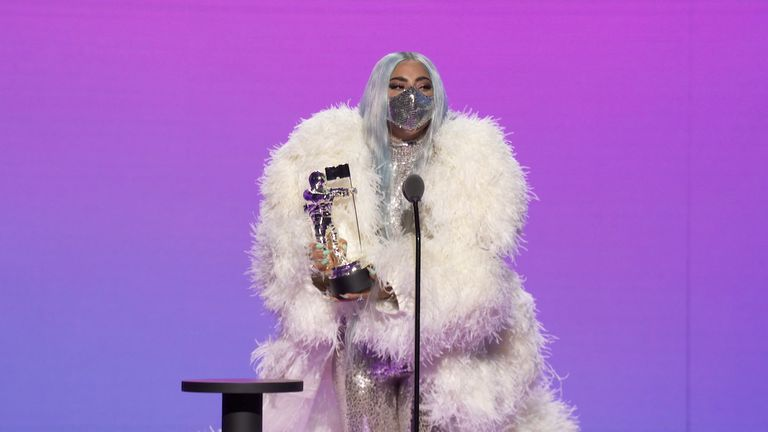 Lady Gaga accepts the award for Song of the Year during the 2020 MTV VMA