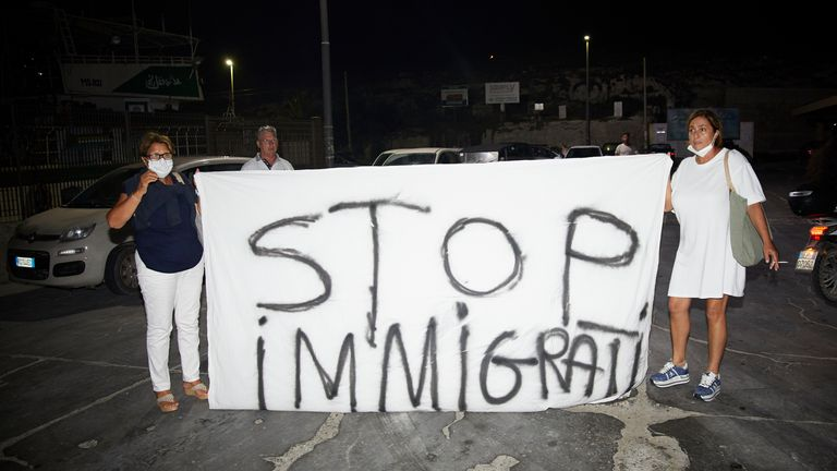 Residents on Lampedusa protested against the high numbers of migrants coming onto their island