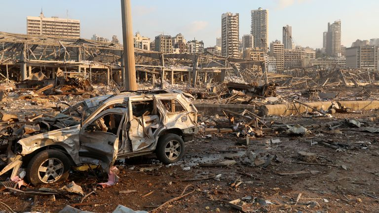 A damaged vehicle is seen at the site of an explosion in Beirut, Lebanon August 4, 2020. REUTERS/Mohamed Azakir