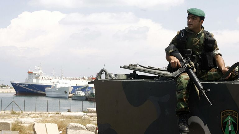 A Lebanese soldier guards the port of Beirut in May 2008