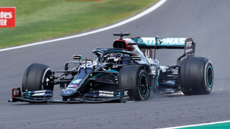 Lewis Hamilton had to navigate the final lap with a puncture