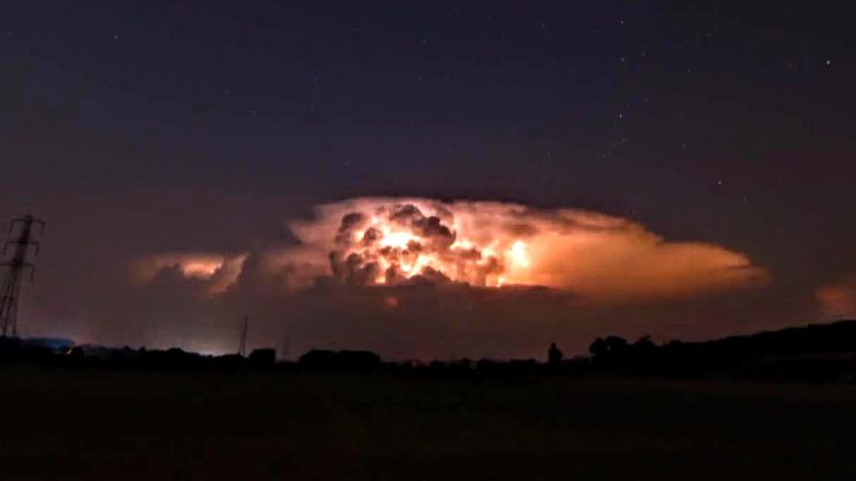 A lighting storm was recorded over Mordiford, Herefordshire