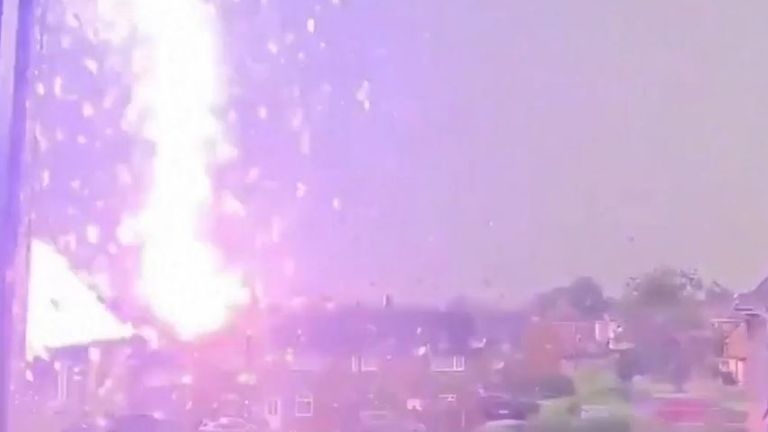 Massive lightning bolt caught on camera in Wales