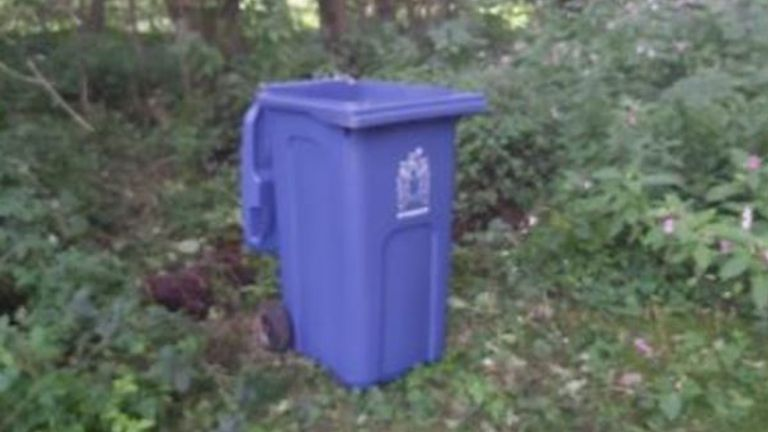 A blue wheelie bin was used to move Lindsay Birbeck's body. Pic: Lancahire police