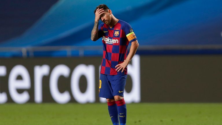 Lionel Messi during Barcelona's Champions League humiliation against Bayern Munich