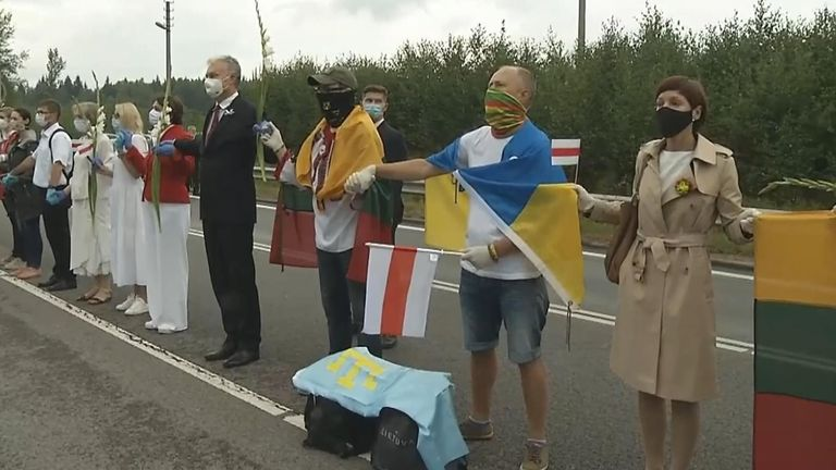 Lithuanians stood in a 35,000-strong human chain in support of protesters in Belarus.