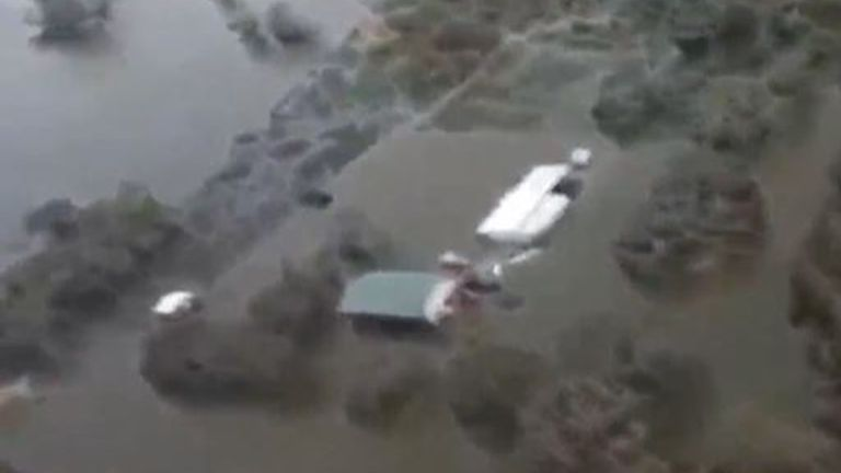 Hurricane Laura's flood devastation seen from above
