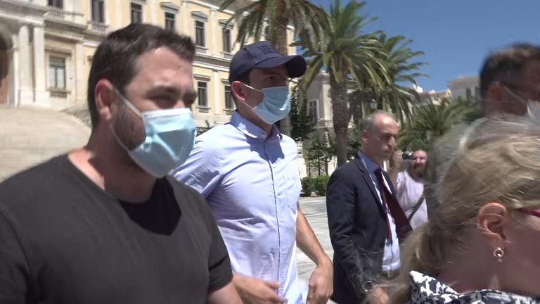 The footballer left the Greek court on Saturday morning