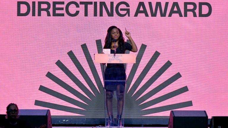 Maimouna Doucoure speaking at the 2020 Sundance Film Festival
