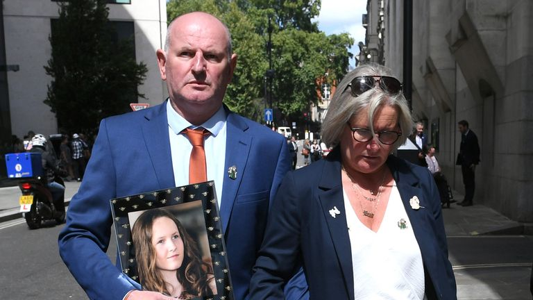 (Left and centre) Michael and Joanne Hurley the parents of Megan Hurley, 15, a victim of the Manchester Arena bombing, leave the Old Bailey in London, after terrorist Hashem Abedi was handed a record-breaking 55-year minimum term.