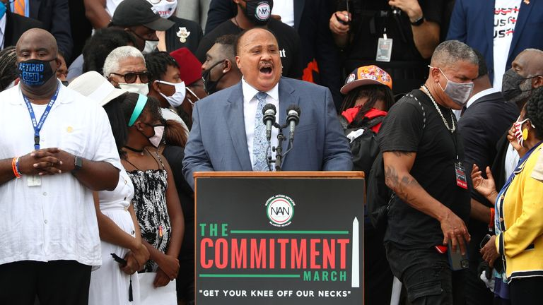 "Martin Luther King III, eldest son of Rev. Martin Luther King Jr., speaks at the ""Get Your Knee Off Our Necks"" Commitment March"