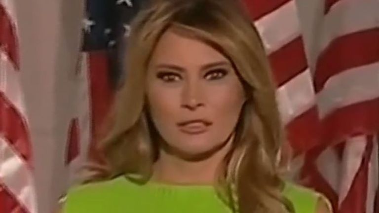 Melania Trump changes facial expression very quickly as Ivanka walks past