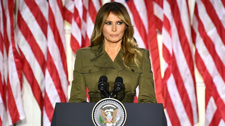 Melania Trump addresses the Republican Convention during its second day from the Rose Garden of the White House