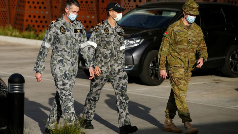 Military staff are seen at a care facility during the coronavirus outbreak in Melbourne