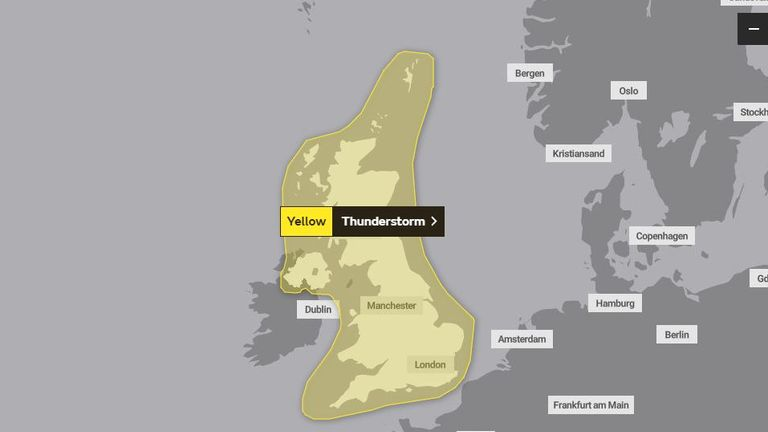 The Met Office's weather warning for Monday