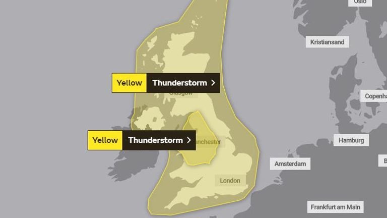 The Met Office has a yellow warning in place for the whole of the UK on Tuesday
