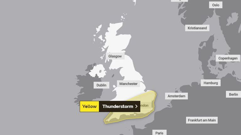 Yellow warnings have been issued for parts of England and Wales. Pic: Met Office