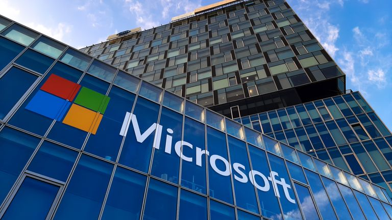 Bucharest, Romania - November 27, 2019: View of Microsoft Romania headquarters in City Gate Towers situated in Free Press Square, in Bucharest, Romania. (Bucharest, Romania - November 27, 2019: View of Microsoft Romania headquarters in City Gate Tower