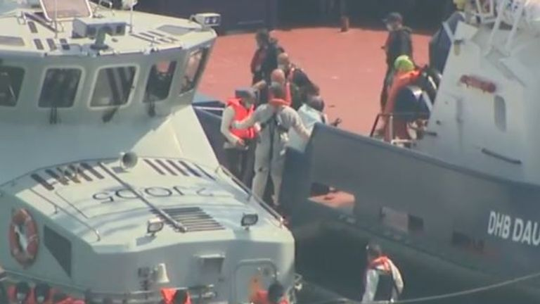 Migrants are brought ashore in Dover