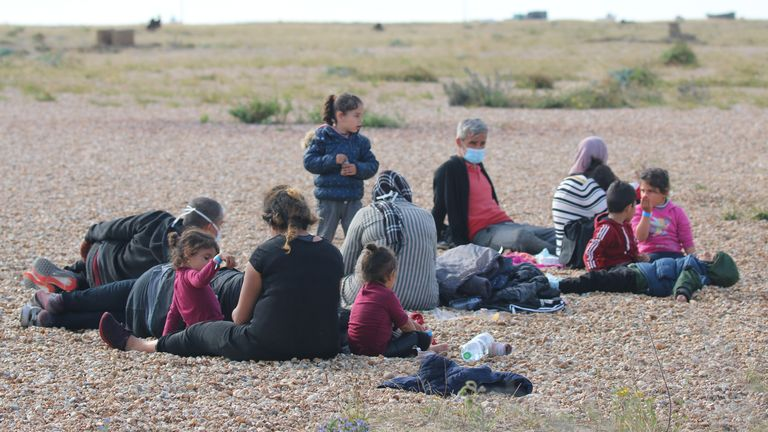 Male, female and child migrants have been pictured in Dungeness. Pic: Susan Pilcher