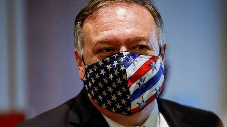 Mike Pompeo leaves a meeting with members of the UN Security Council