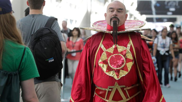 Mason Thomas of Chicago plays Ming the Merciless from the Flash Gordon movie of 1982 during Comic-Con 2017 in San Diego, California, July 20, 2017. / AFP PHOTO / Bill Wechter (Photo credit should read BILL WECHTER/AFP via Getty Images)
