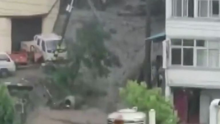 Flooding triggers mudslides in China