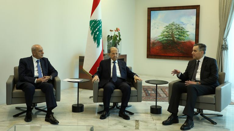 Designated Prime Minister, Mustapha Adib, meets with Lebanon's President Michel Aoun and Lebanese speaker of the parliament Nabih Berri at the presidential palace in Baabda