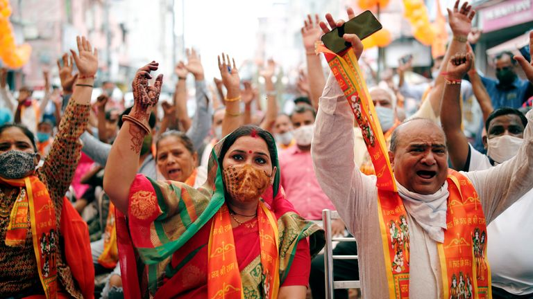 People in New Delhi watched a live screening of the ceremony