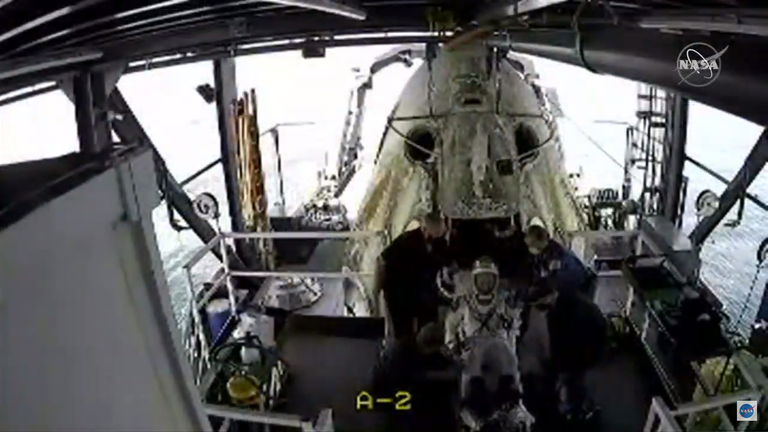 The astronauts were recovered from the Dragon capsule on Sunday