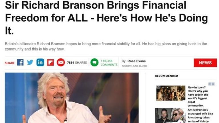 Celebrities such as Sir Richard Branson were used. Pic: NCSC