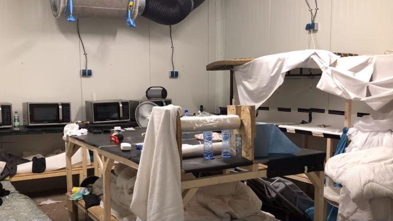 Microwaves and worktops were discovered at the site in the raid. Pic: Politie Landelijke Eenheid