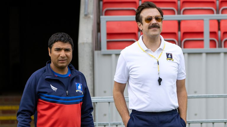 Nick Mohammed and Jason Sudeikis in Ted Lasso. Pic: Netflix