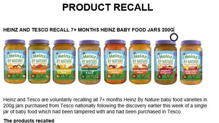 Tesco was forced to recall thousands of products. Pic: FSA