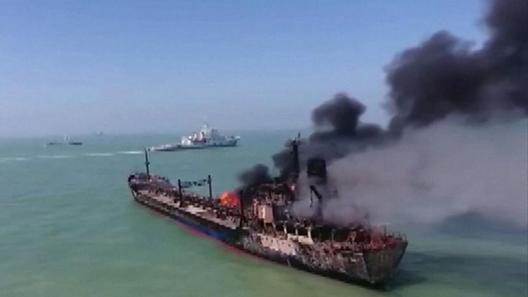 Oil tanker collides