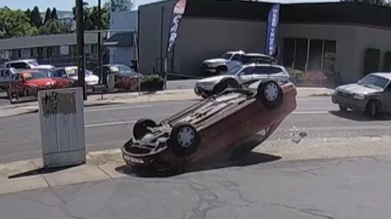 Car flips in collision