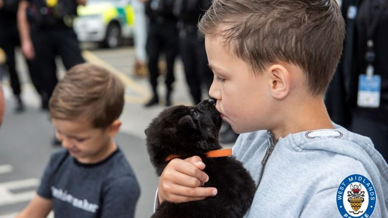 Oscar is seen kissing one of the police pups