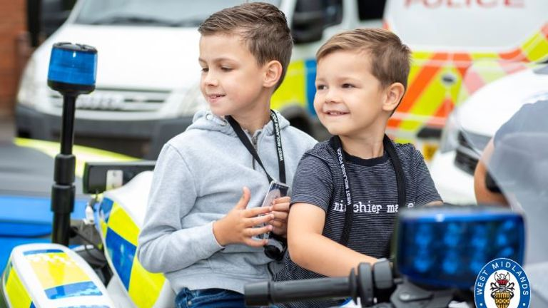 Oscar (left) and his brother Charlie spent the day at Bournville Police station