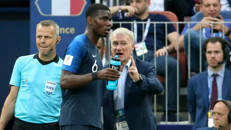 French coach Didier Deschamp gives Pogba instructions during the 2018 FIFA World Cup Final against Croatia in Russia