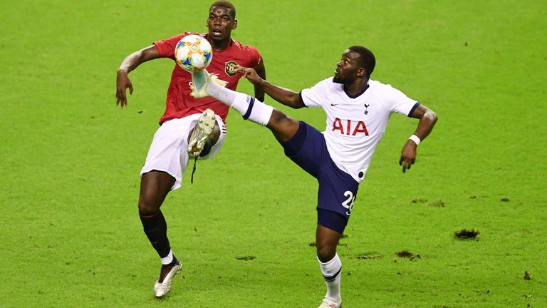 United's Paul Pogba and Spurs' Tanguy Ndombele