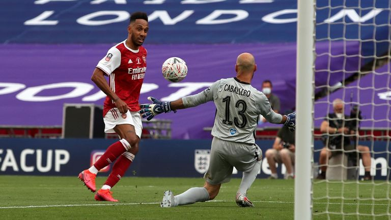 Arsenal's Pierre-Emerick Aubameyang scores his side's second goal of the game during the Heads Up FA Cup final