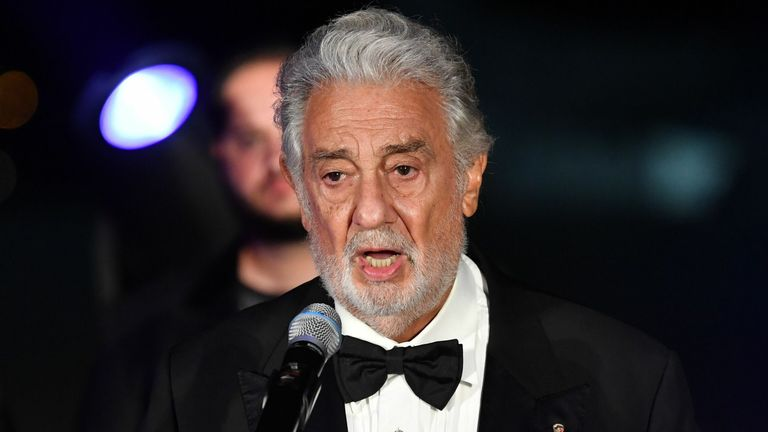 Placido Domingo speaks as he is awarded for his life's work at the 2020 Austrian Music Theatre Prize ceremony on August 6, 2020 in Salzburg