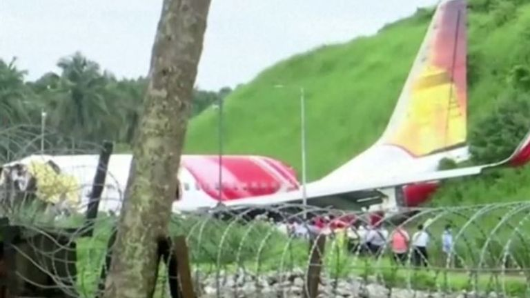 Scene of fatal plane crash in Kerala