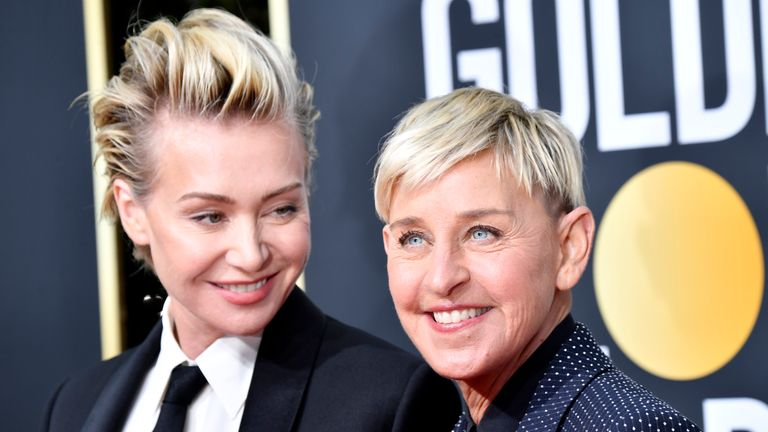 Portia de Rossi and Ellen DeGeneres attends the 77th Annual Golden Globe Awards at The Beverly Hilton Hotel on January 05, 2020 in Beverly Hills, California