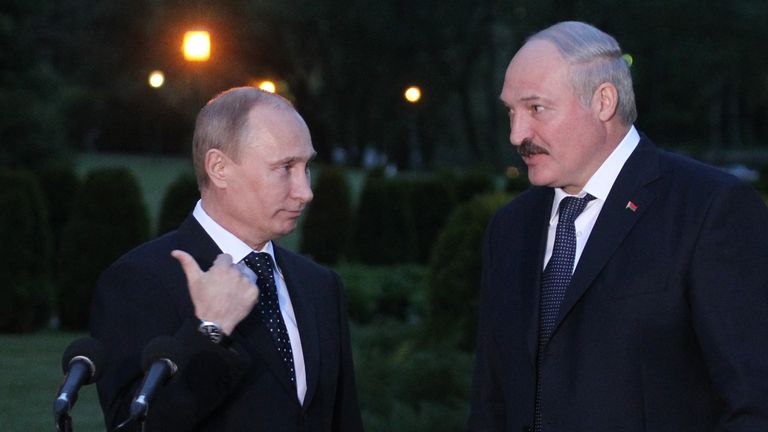 The President of Russia, Vladimir Putin, and the President of Belarus, Alexander Lukashenko