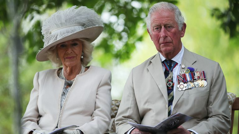 The Prince of Wales and the Duchess of Cornwall during the national service of remembrance