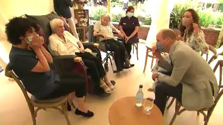 The royal couple are clearly amused at care home resident Joan Drew Smith's honest appraisal
